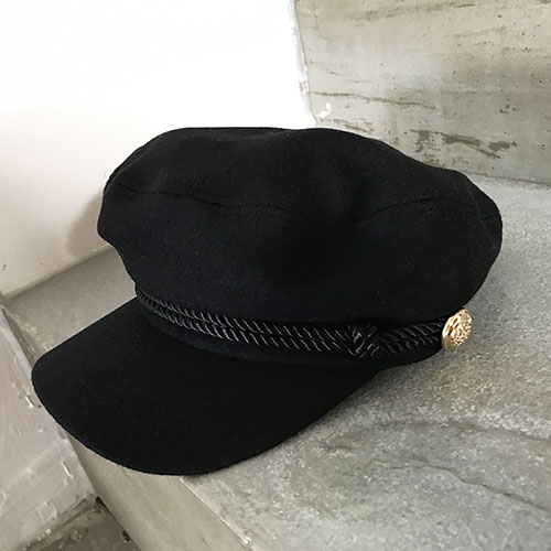 gold button hat