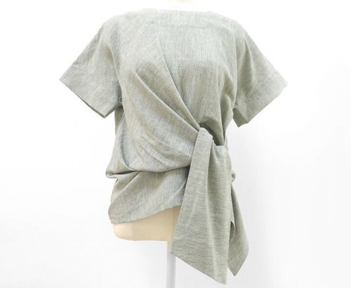 knotted linen blouse