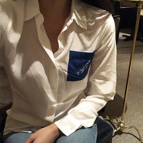 loeb* blue pocket blouse