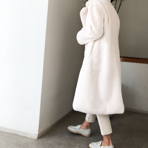 fake mink long coat