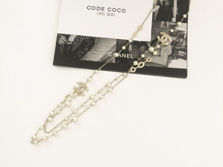 cha* gold pearl long necklace