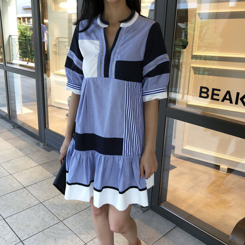 sacai patch mini  dress