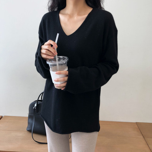 loose V-neck knit