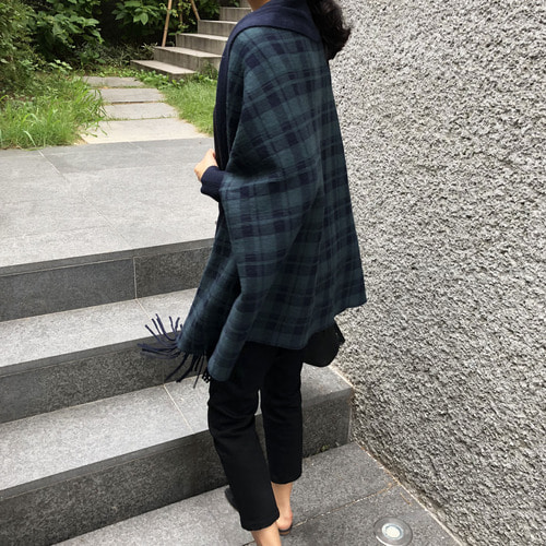 sandr* check shawl cardigan