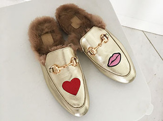 gucc* heart lip slipper