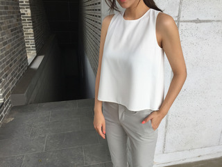 flare A cami blouse (블랙 바로발송)