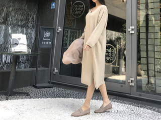 V knit long dress