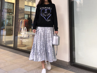 silver spangle long skirt (S바로발송)